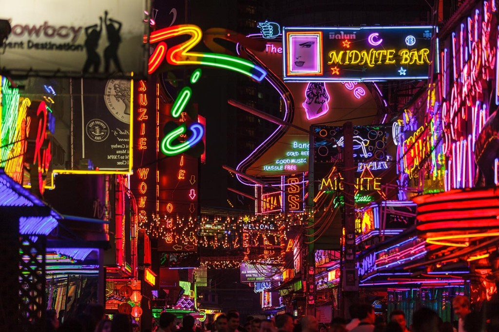 BANGKOK, THAILAND, JANUARY 31, 2012: View on the colorful neon l